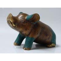 1x Schwein Bronze Länge 13 cm