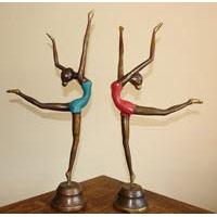 Tänzerin Filigran Bronze rot ca. 60 cm