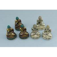 Bronze-Buddha 6 cm sitzend 3er Set