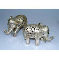 Elefant Bronze silber finish Länge 16 cm