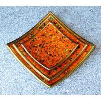 Schale Orange Gold 3er Set QUADRATISCH
