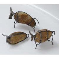 Stier mit Stein und Metallrahmen  20cm